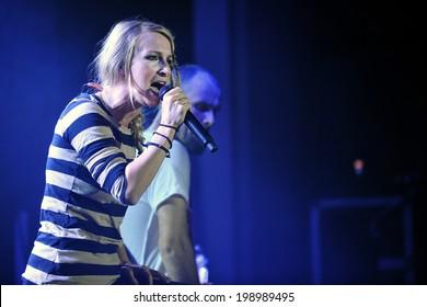 PRAGUE - OCTOBER 13: Singer Sandra Nasic of Guano Apes during performance in Prague, Czech republic, October 13, 2011.