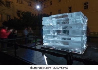 PRAGUE - OCTOBER 14, 2021: Installation Permafrost by Simon Masek, in Klementinum, within the Prague Light festival Signal 2021