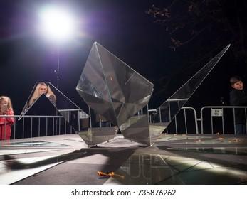 PRAGUE - OCTOBER 15, 2017: Installation Juxtaposition by Tets Ohnari on Kampa, within the Prague Light festival Signal 2017