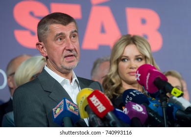 PRAGUE - OCTOBER 21: Andrej Babis speaks to journalists during the press conference after results of the general elections to the Chamber of Deputies, in Prague, Czech Republic, October 21, 2017.