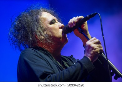 PRAGUE - OCTOBER 22: Singer and guitarist Robert Smith of The Cure during performance in Prague, Czech republic, October 22, 2016.