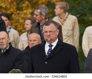PRAGUE - OCTOBER 28, 2016: Jindrich Forejt - former director of the protocol office of the president Milos Zeman on capture from Czech independent day.