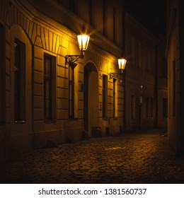 Prague Old Town Ally at Night with Lanterns and street lights - Shutterstock ID 1381560737