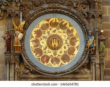 Prague, the Old Town, the calendar just below the astronomical clock Orloj (above); Prague, June 17, 2019, Czech Republic