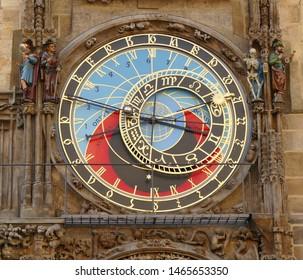 Prague, the Old Town, details of the medieval astronomical clock Orloj (above) along with the calendar (below); Prague, June 17, 2019, Czech Republic