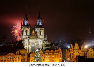 Prague old town with fireworks behind Church of Our Lady before Tyn  in the night with old building. Capital city of Czech Republic and one of the most famous tourist place in Europe.