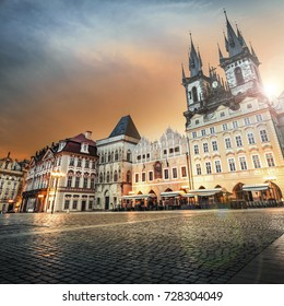 Prague, Old Town Hall (15th Century), Town Square and Church of our Lady Tyn (1365) at dawn.