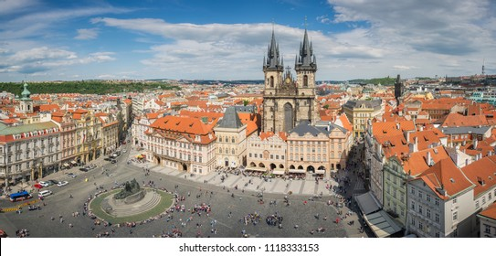 Prague Old Town Panoramic view taken from Astronomical Tower, Prague, Czech republic - May 1st 2018