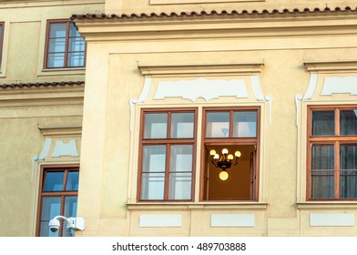 Prague, old town, residential building exterior, window detail.