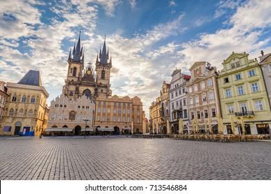 Prague Old Town Square Czech Republic, sunrise city skyline
