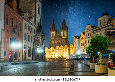 Prague Old Town Square at night in Prague with stars sky, Czech Republic, Europe