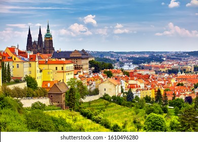 The Prague panorama with Prague Castle, Prague river Vltava and many famous Prague sights and historic architecture