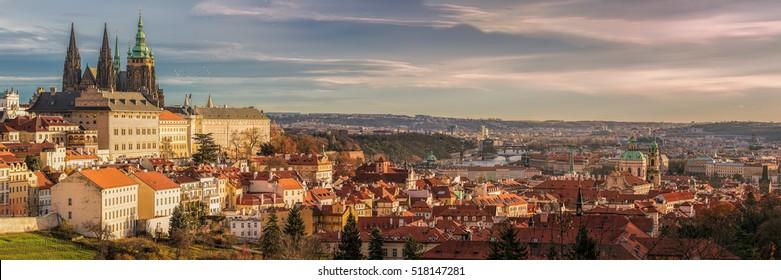 Prague panorama with Prague Castle, Prague river Vltava and many famous Prague sights and historic architecture.