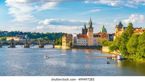 Prague panorama city skyline and Charles Bridge, Prague, Czech Republic