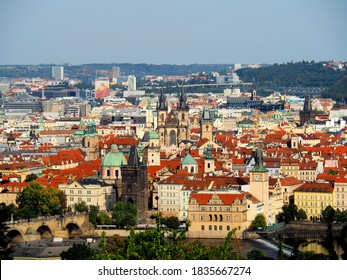PRAGUE panorama view with Charles bridge in front (bottom) and  Church of Our Lady before Tyn (Tynsky chram) in the centre during summer sunny afternoon, CZECHIA/Czech republic, Europe - Shutterstock ID 1835667274