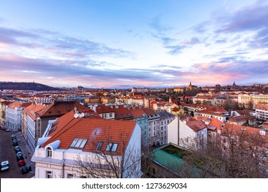 Prague panorama from Vysehrad castle. Cityscape during the sunset, magical and beautiful colors. Colorful clouds above the czech capital city.