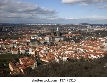 Prague - Panoramic view with Prague Castle and Lesser Town, Jansky Vrsek, St. Vitus Cathedral and the Embassy of Germany in baroque Palais Lobkowicz