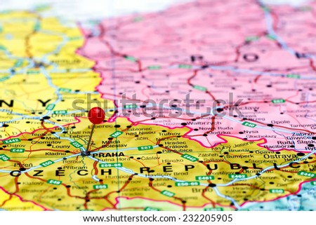Prague Pinned On Map Europe Stock Photo Edit Now 232205905