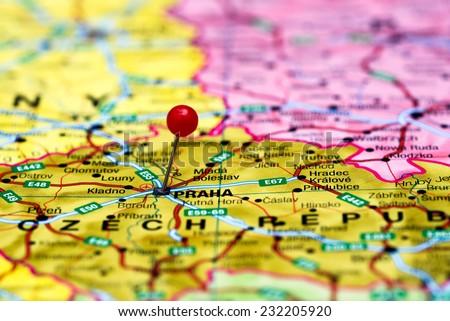 Prague Pinned On Map Europe Stock Photo (Edit Now) 232205920 ...