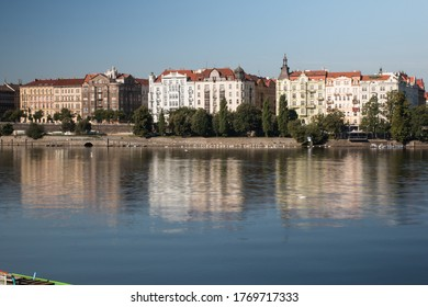 Prague Riverside with beautiful buildings