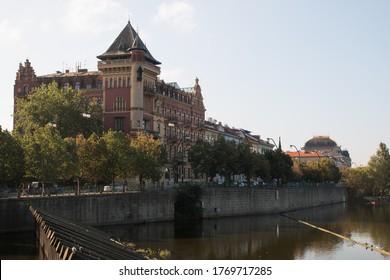Prague Riverside buildings by Vltava river