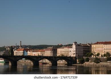 Prague Riverside with a few buildings