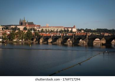 Prague Riverside and St. Vitus Cathedral and Charles Bridge