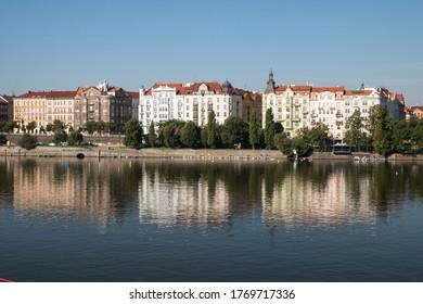 Prague Riverside with three beautiful buildings