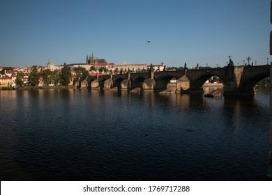 Prague Riverside and Vltava river and Charles Bridge