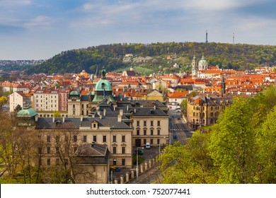 Prague rooftops. Beautiful aerial view of Mala Strana area architecture with red roofs.