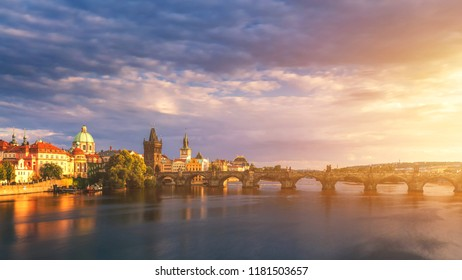Prague Scenic spring sunset aerial view of the Old Town pier architecture and Charles Bridge over Vltava river in Prague, Czech Republic