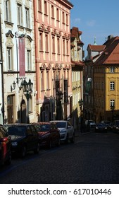 PRAGUE - SEP 1 , 2016 - Baroque buildings  on Nerudova Street,  Prague, Czech Republic