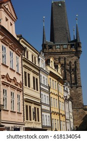 PRAGUE - SEP 1 , 2016 - Baroque building fronts facing Stare Mesto, Old Town of  Prague, Czech Republic