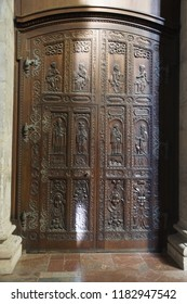 PRAGUE - SEP 1 , 2016 - Carved wooden doors of  St Vitus Cathedral,  Prague, Czech Republic
