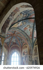PRAGUE - SEP 1 , 2016 - frescoes on  interior of St George Basilica In Hradcany Prague Castle,  Prague, Czech Republic