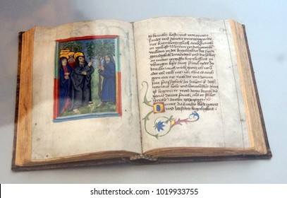 PRAGUE - SEP 1 , 2016 - Illuminated manuscripts in the medieval library of Strahov Monastery,  Prague, Czech Republic