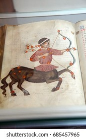 PRAGUE - SEP 1 , 2016 - Illuminated manuscripts in the medieval library of Strahov Monastery,  Prague, Czech Republic