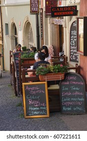PRAGUE - SEP 1 , 2016 - Lunchtime    on Nerudova Street,  Prague, Czech Republic