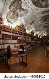 PRAGUE - SEP 1 , 2016 - Medieval library of Strahov Monastery,  Prague, Czech Republic