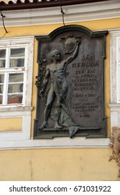 PRAGUE - SEP 1 , 2016 - Plaque honoring Czech patriot Jan Neruda,  on Nerudova Street,  Prague, Czech Republic