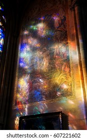 PRAGUE - SEP 1 , 2016 - Stained glass windows cast shadows on walls of  St Vitus Cathedral,  Prague, Czech Republic