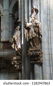 PRAGUE - SEP 1 , 2016 - Statue on column in  St Vitus Cathedral,  Prague, Czech Republic