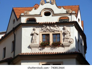PRAGUE - SEP 1 , 2016 - Statues decorate the walls of the Hotel Aurus,  Prague, Czech Republic