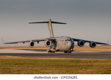 PRAGUE - SEPTEMBER 13: U.S. Air Force C-17 Globmaster stand at PRG Airport on September 13, 2018 in Prague, Czech Republic. Boeing C-17 Globemaster III is a large military transport aircraft.