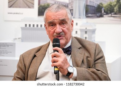 PRAGUE - SEPTEMBER 17: Karel Schwarzenberg at opening Contact Center TOP 09 in the Manes Gallery, Czech republic, September 17, 2018.