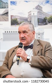PRAGUE - SEPTEMBER 17: Karel Schwarzenberg at opening Contact Center TOP 09 in the Manes Gallery, Czech republic, September 17, 2018.