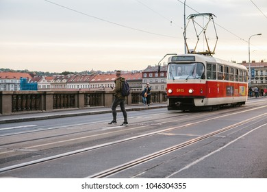 Prague, September 23, 2017: The tram is riding down the street in the city. Traditional street public transport in Europe.