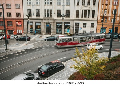 Prague, September 24, 2017: The old-fashioned tram is riding along the city street. Moving people around the city by transport