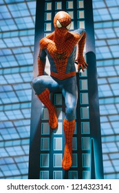 Prague September 29, 2018: Prague, September 29, 2018: A human-sized figure or wax figure of the Spiderman character in a toy store Hamleys
