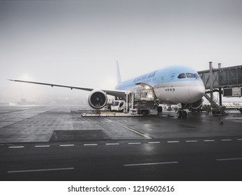 PRAGUE - SEPTEMBER 29, 2018: Korean Air Boeing 787-9 dreamliner at Vaclav Havel Airport Prague on SEPTEMBER, 2018. Korean air is the flag carrier airline of South Korea